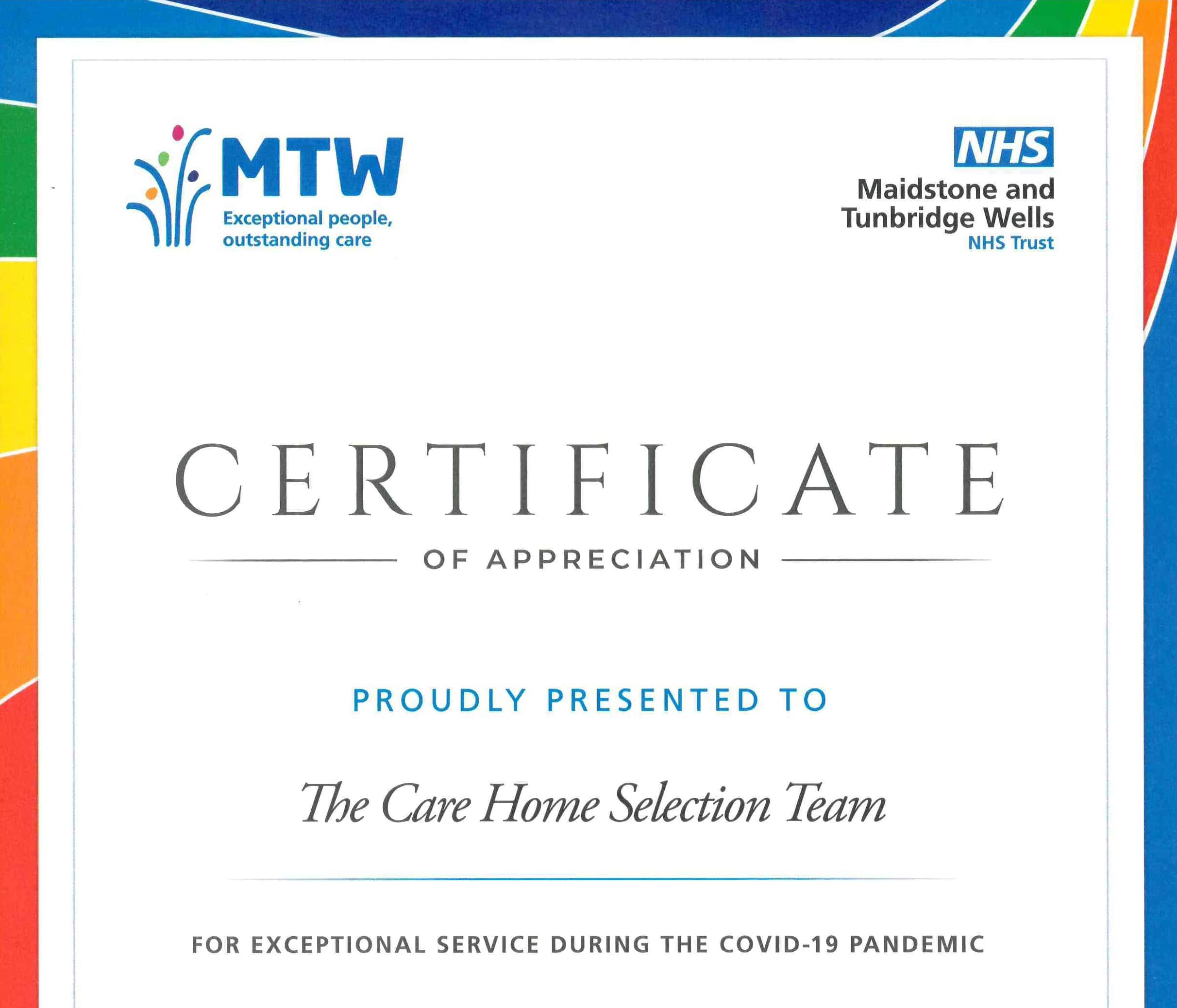 Recognition from our partners at Maidstone and Tunbridge Wells NHS Trust