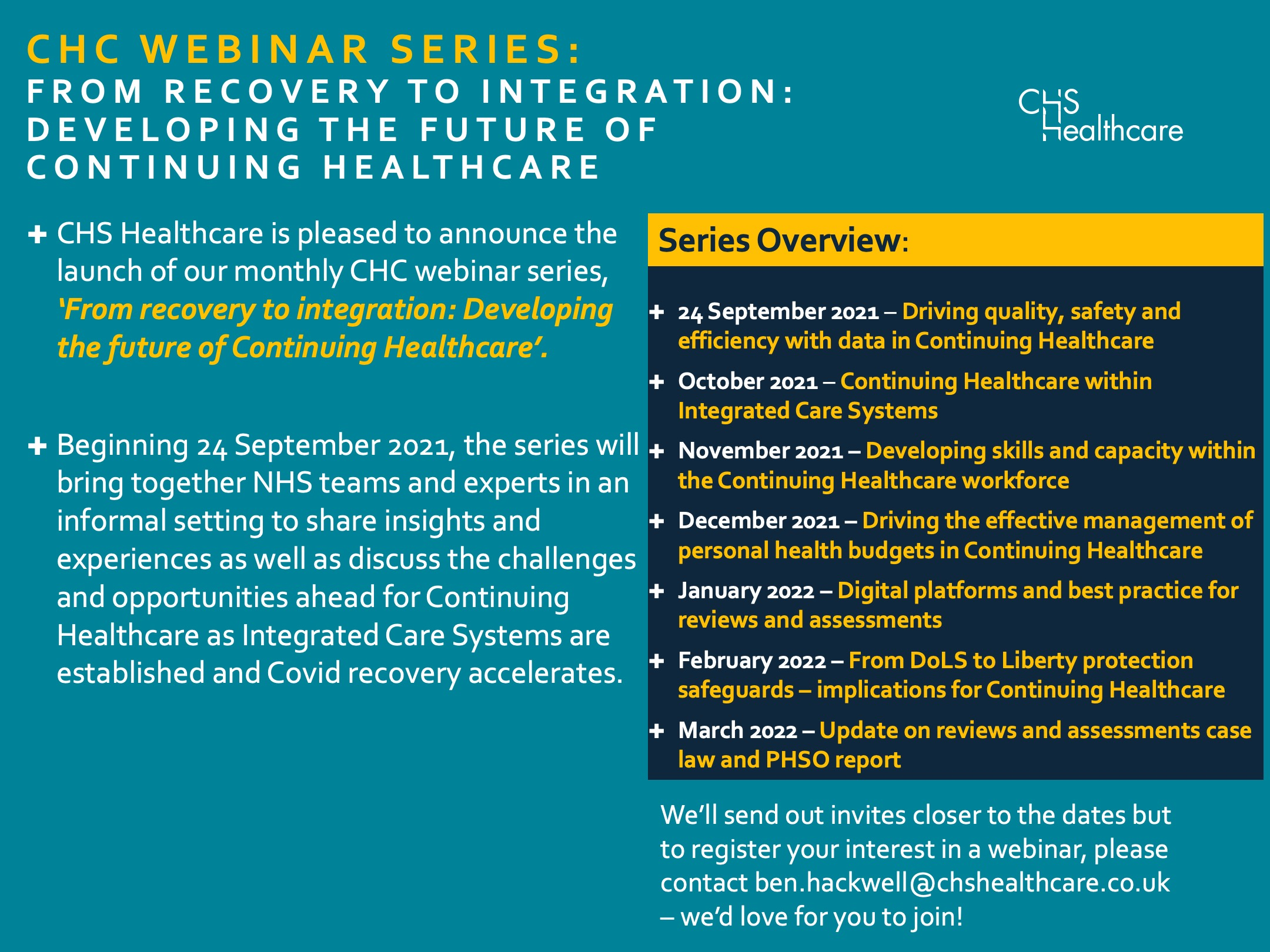 Continuing Healthcare Webinar Series: 'From recovery to integration: Developing the future of Continuing Healthcare'